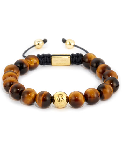 Northskull Yellow Tiger Eye & Gold Bracelet Made With 18KT. Gold
