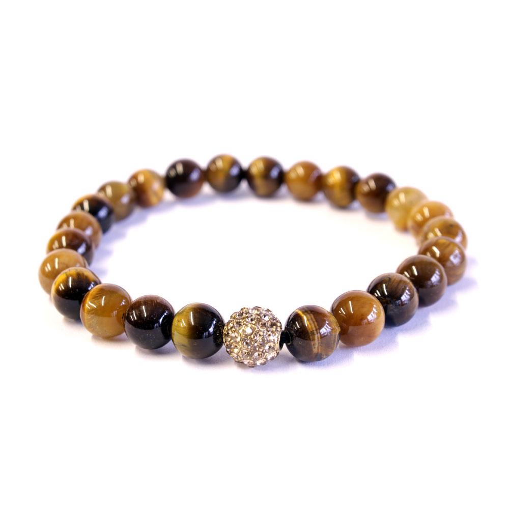 yellow tiger eye & crystal bracelet 8mm beads