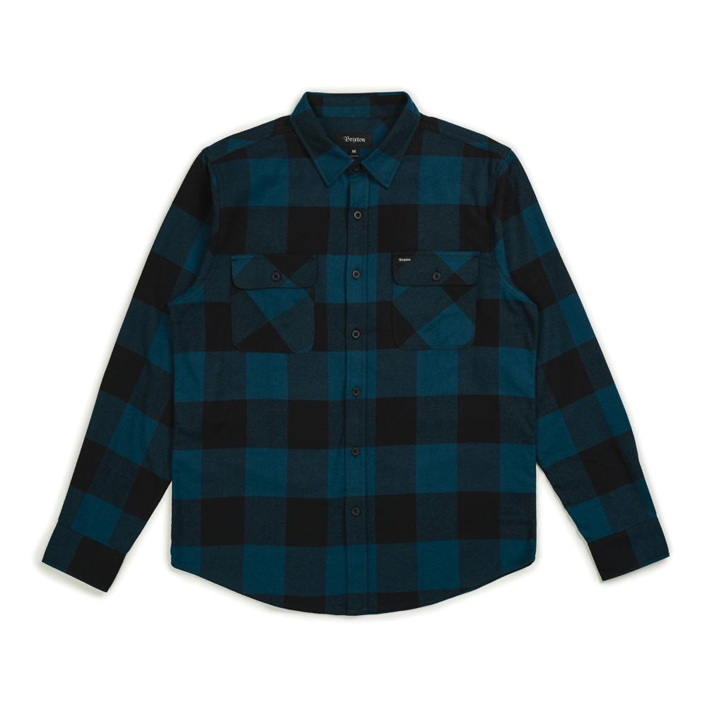Brixton Bowery Flannel Long Sleeve Shirt Black Teal