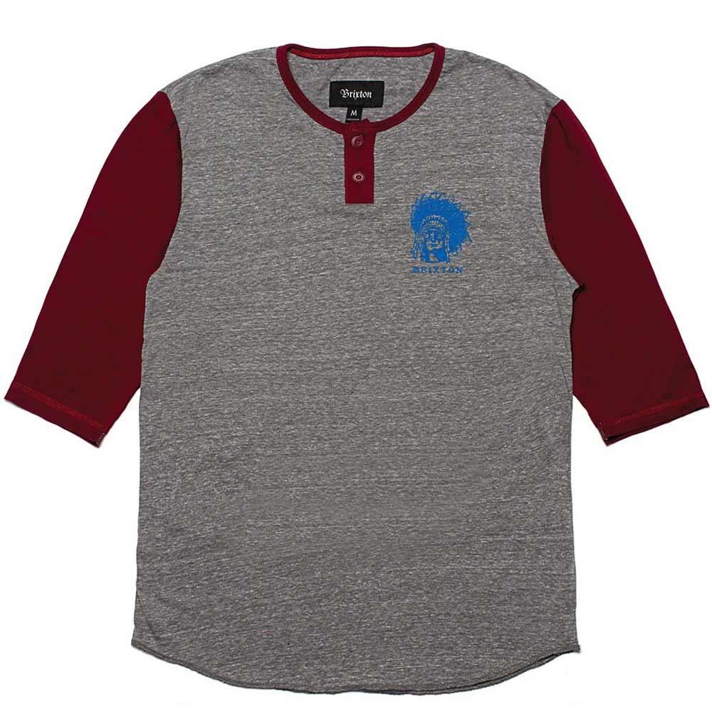 Brixton Crow Henley 3/4 Sleeve T-Shirt Grey