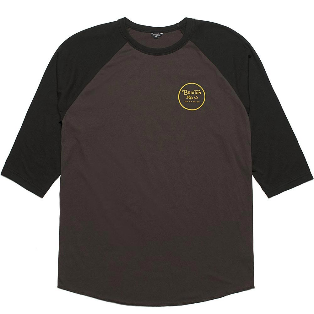 Brixton Wheeler 3/4 Sleeve Baseball T-Shirt Black Black