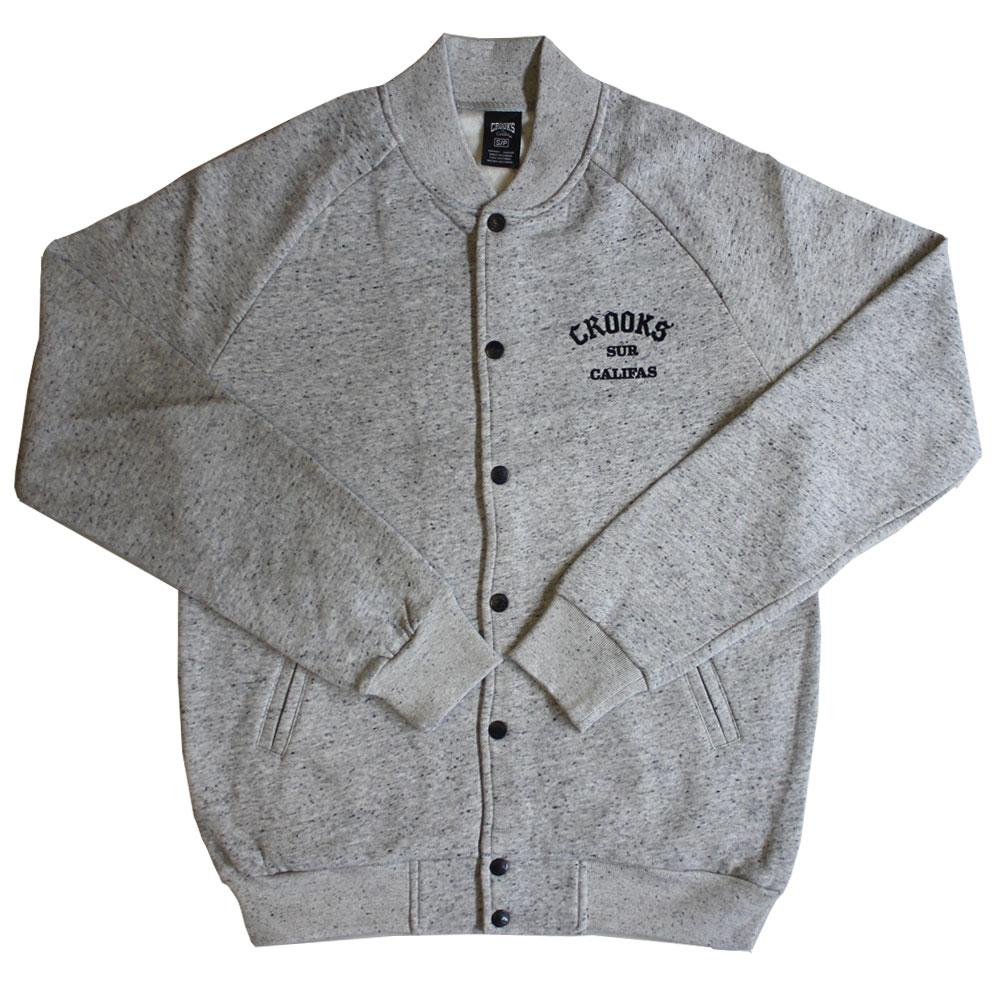 Crooks & Castles Sur Califas Woven Baseball Jacket Lt Grey Speckle