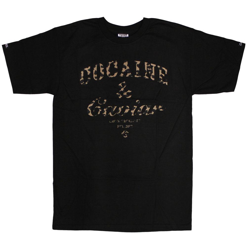 Crooks & Castles Cocaine & Caviar Leopard T-shirt Black