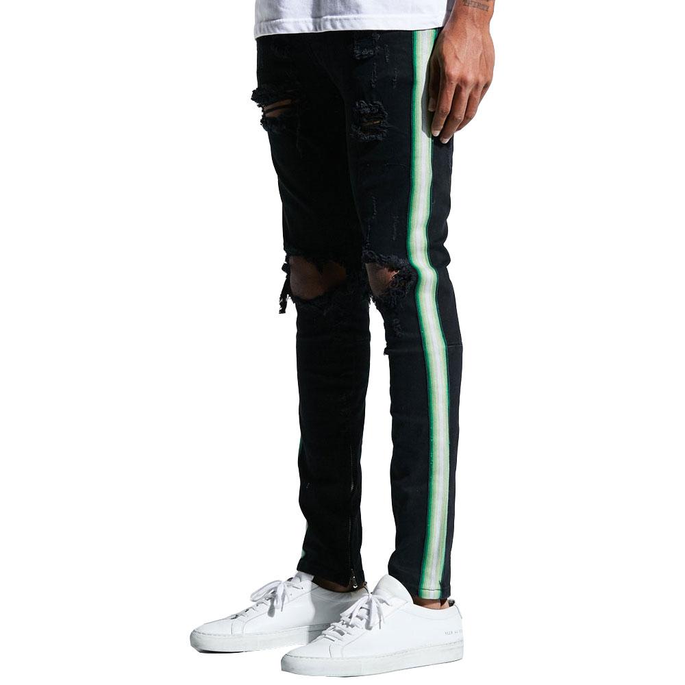 Embellish Bolt Standard Denim Jeans Ripped Black