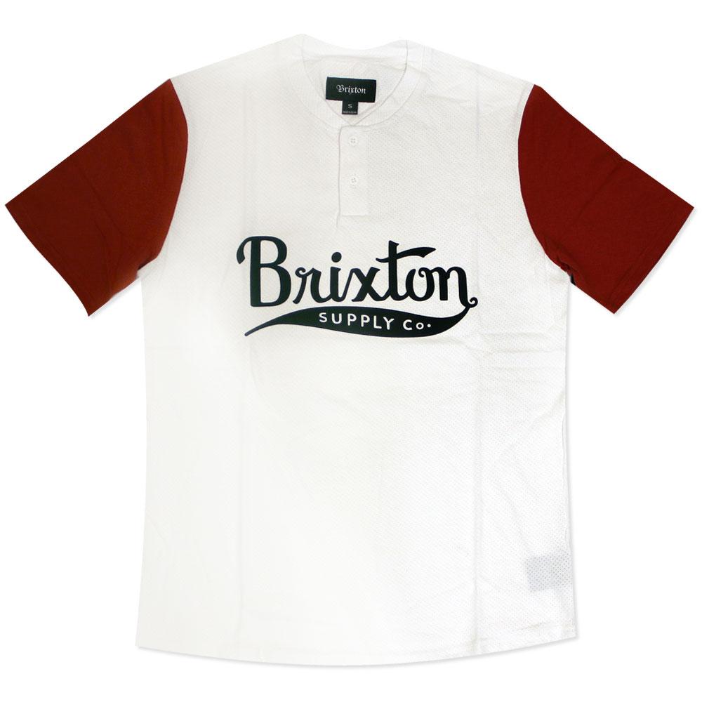 Brixton Gomez Henley T-Shirt White Red
