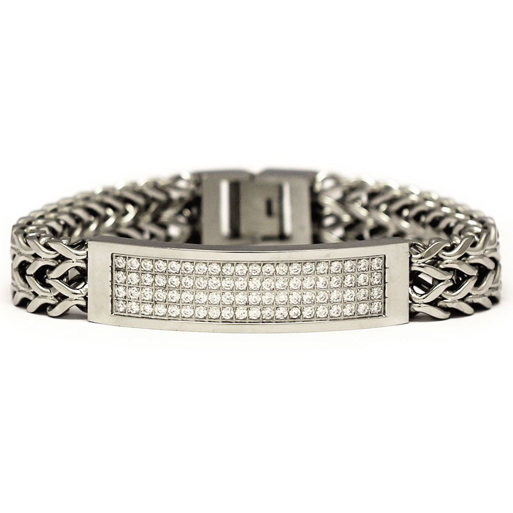 Stainless Steel 2 Row CZ Franco Link ID Bracelet 8 Inches