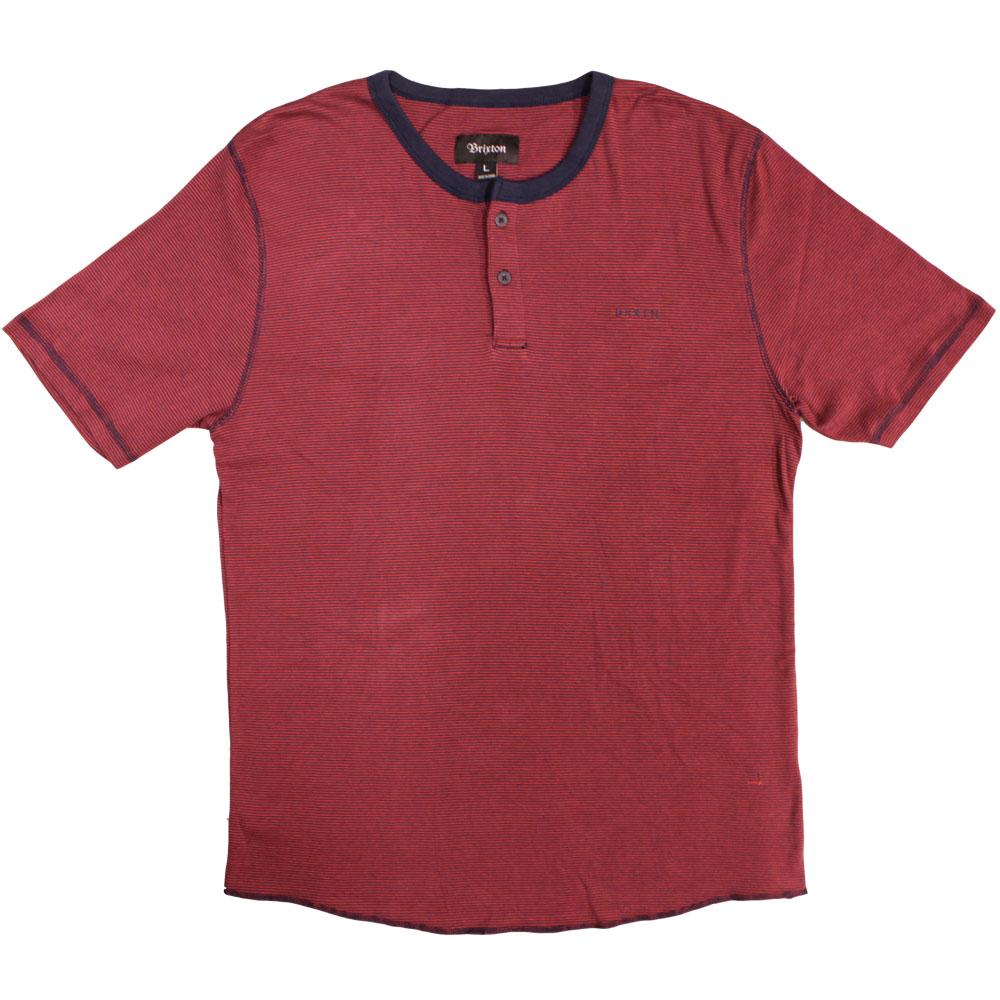 Brixton Lewis Henley T-shirt Red Navy