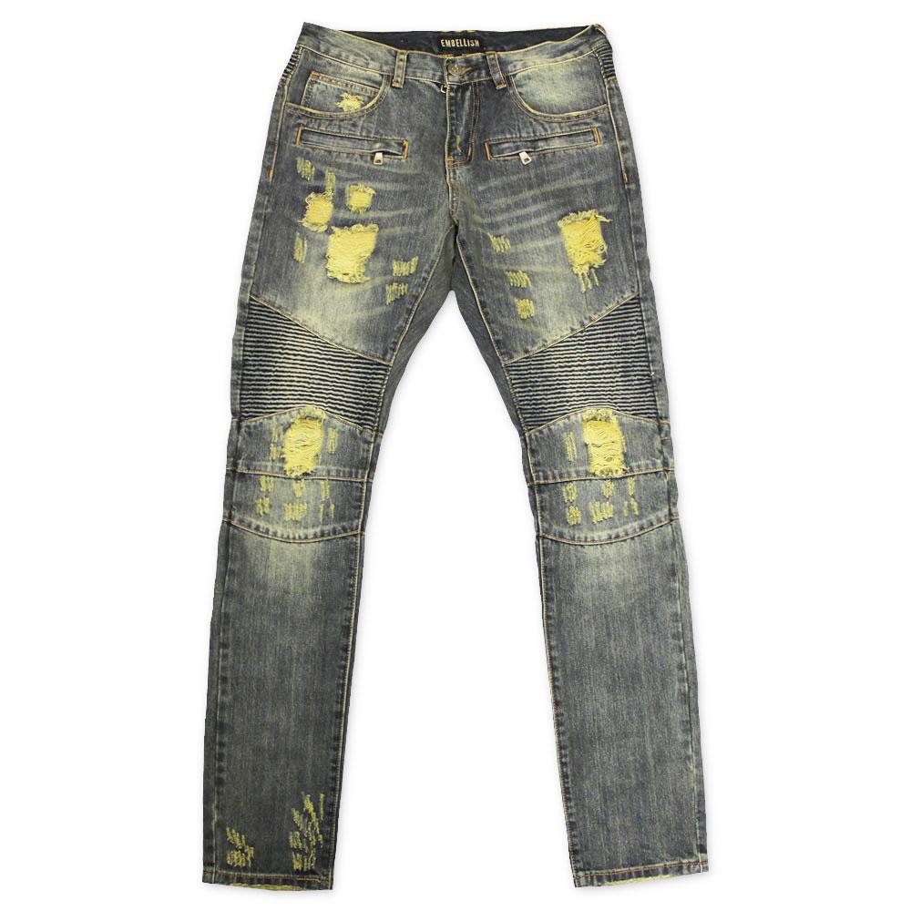 Embellish Lincoln Biker Denim Stone Wash Blue Biker Jeans
