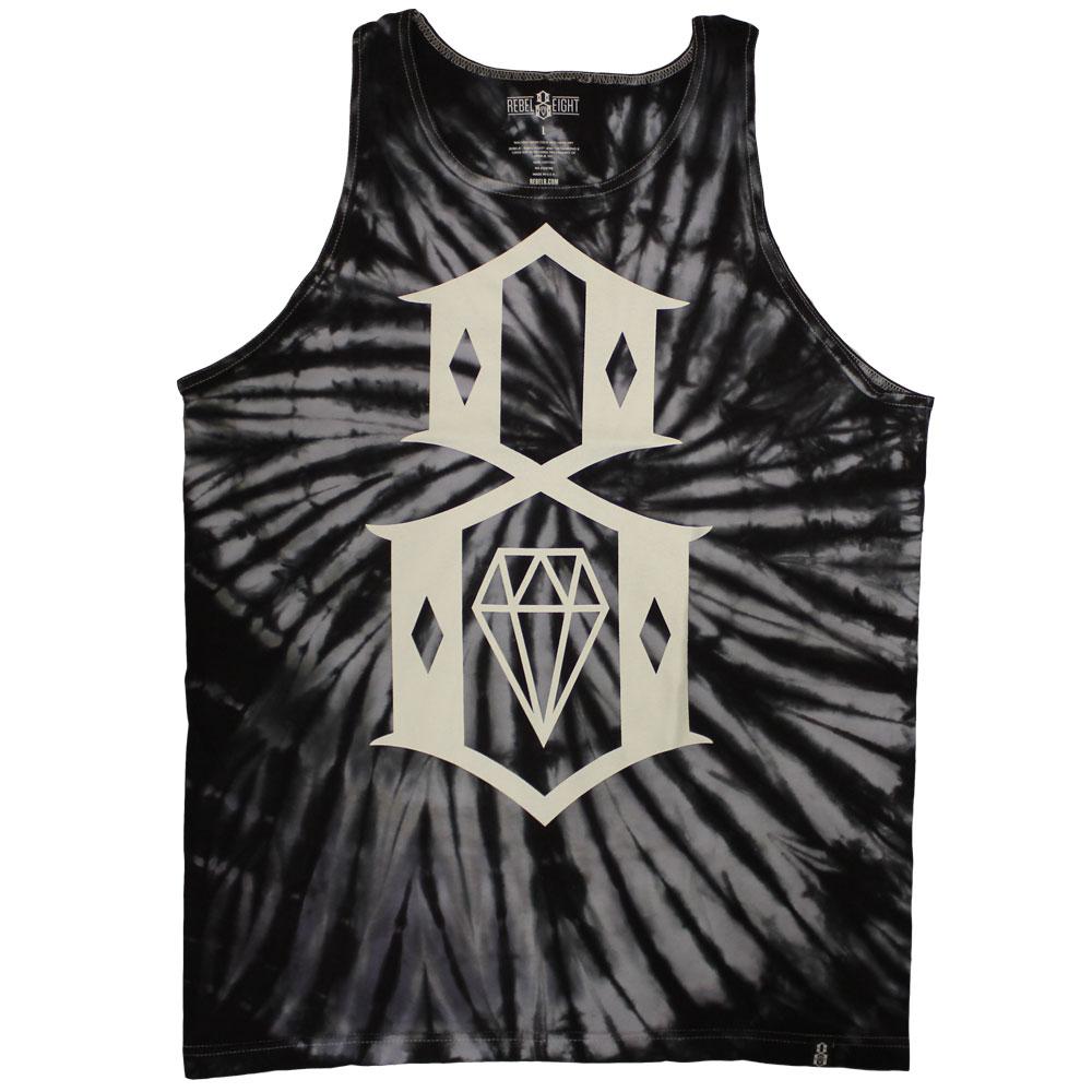 Rebel8 Logo Tie Dye Tank Top Black