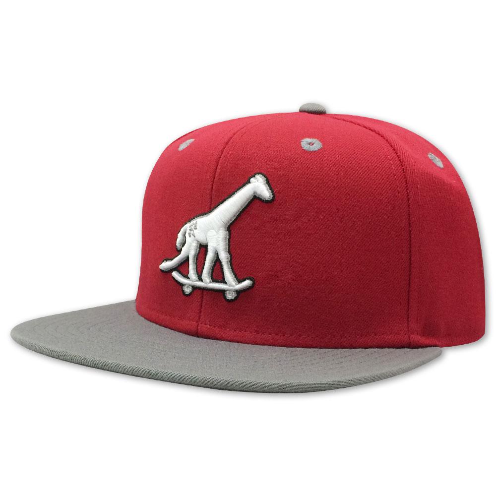Skate Giraffe Strap Back Hat Red