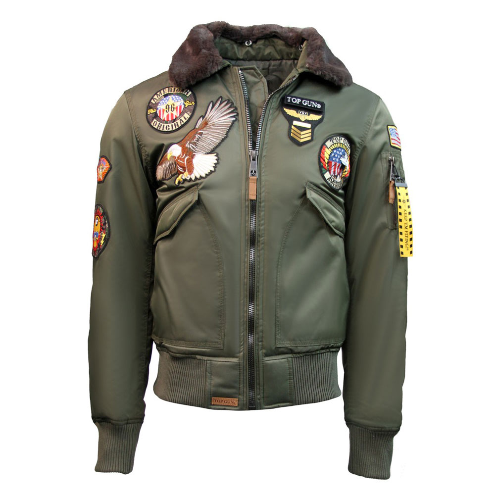 Top Gun MA-1 American Original Bomber Jacket With Patches Olive