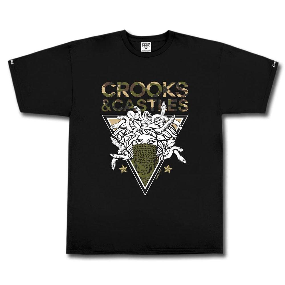 Crooks & Castles Medusa On Camo T-shirt Black