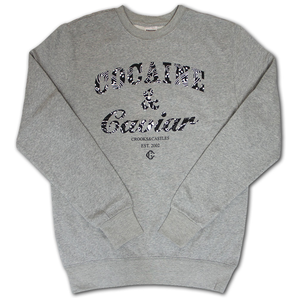 Crooks & Castles Cocaine & Caviar Paisley Sweatshirt Heather