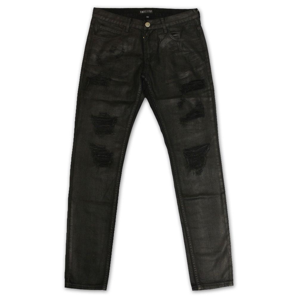Embellish Phantom Ripped Standard Denim Jeans Black Wax