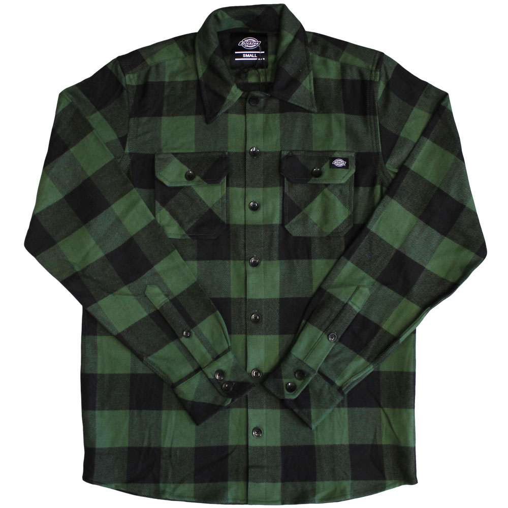 Dickies Sacramento Long Sleeve Flannel Shirt Pine Green