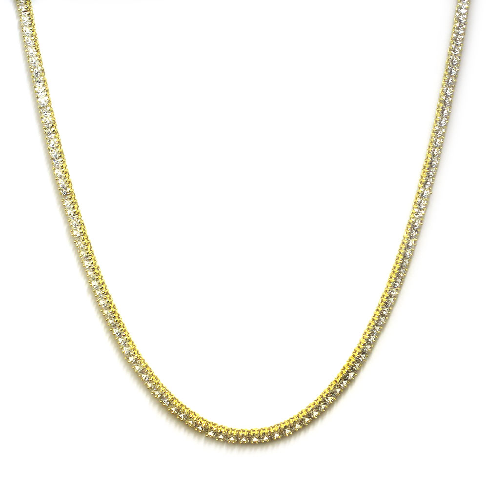 Tennis Necklace 18k Gold plated CZ Square Cut 4mm