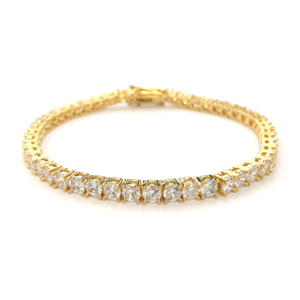 Tennis Bracelet 18k Gold Plated CZ Round Cut 4mm x 8 Inches