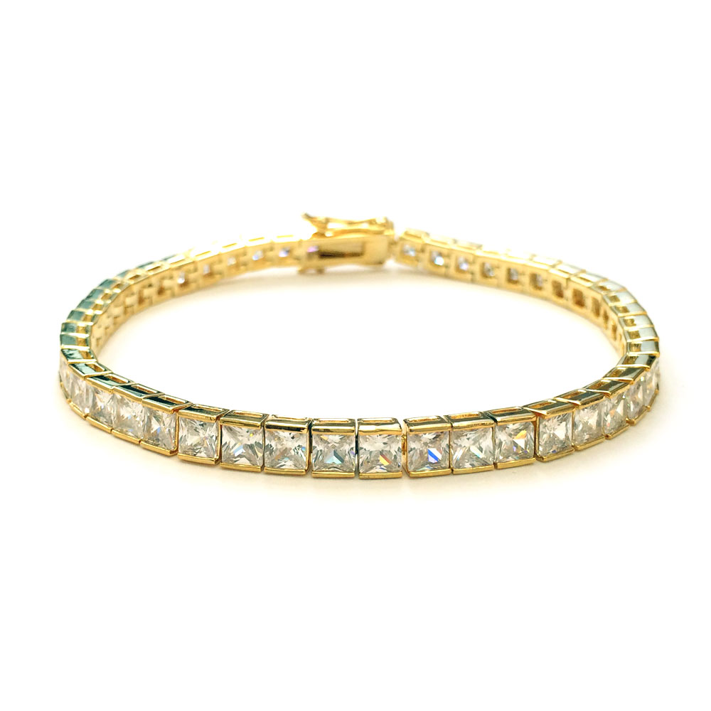 Tennis Bracelet Gold Plated CZ Square Cut 4mm x 8 inches