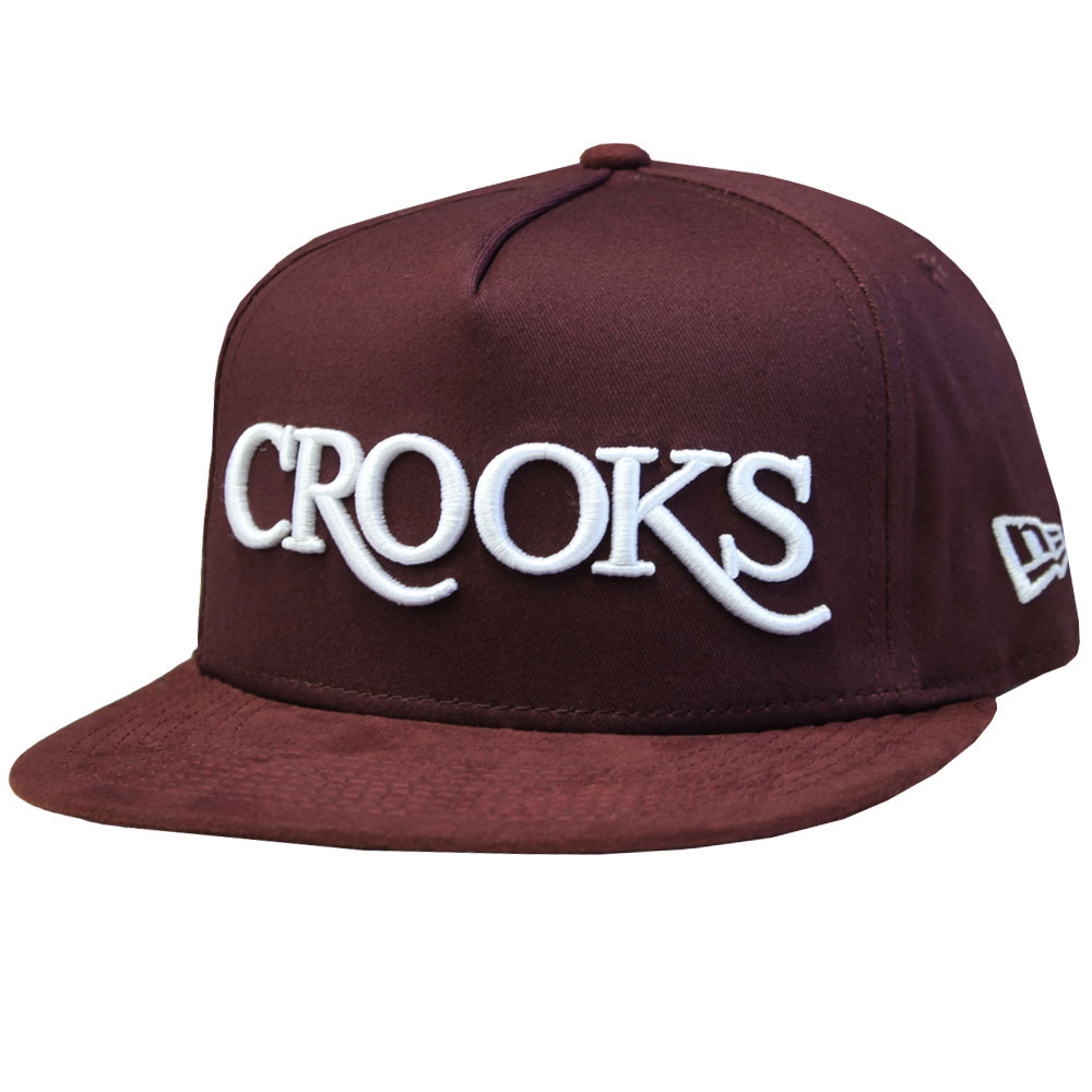 Crooks & Castles Thuxury Serif Strapback Baseball Cap Burgundy