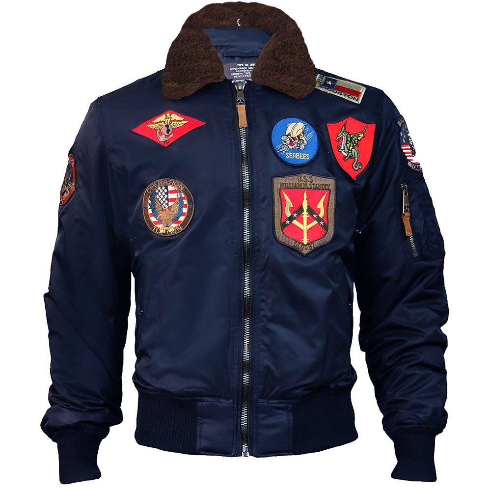 Top Gun Official B 15 Mens Flight Bomber Jacket with Patches Navy