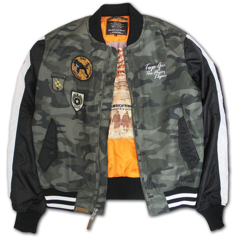 Top Gun Camouflage Bomber Jacket Olive