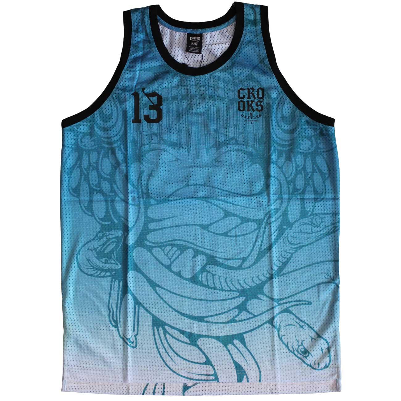 Crooks & Castles Trece Basketball Jersey Tank Top Blue