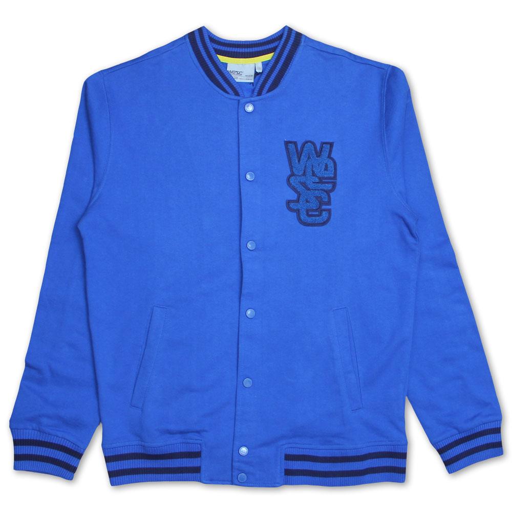 Wesc Warren Sweat Varsity Jacket Snorkel Blue