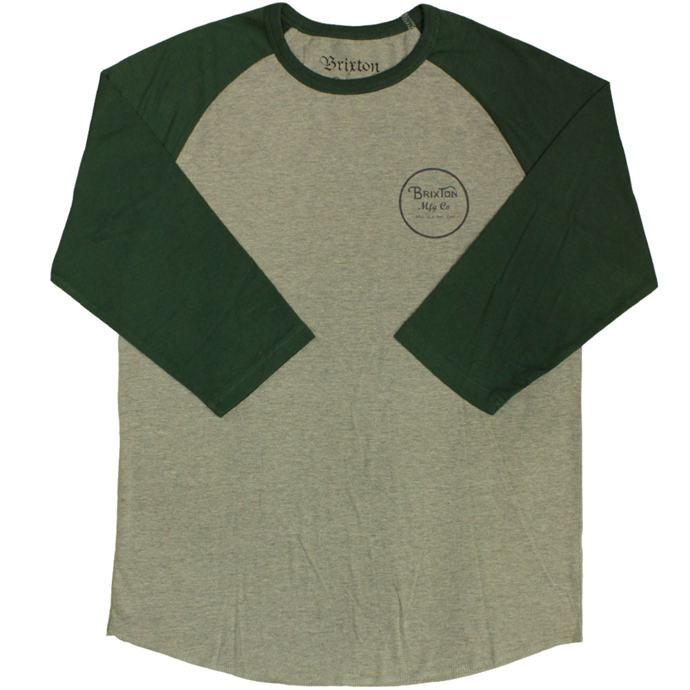Brixton Wheeler 3/4 Sleeve Baseball T-Shirt Heather Grey