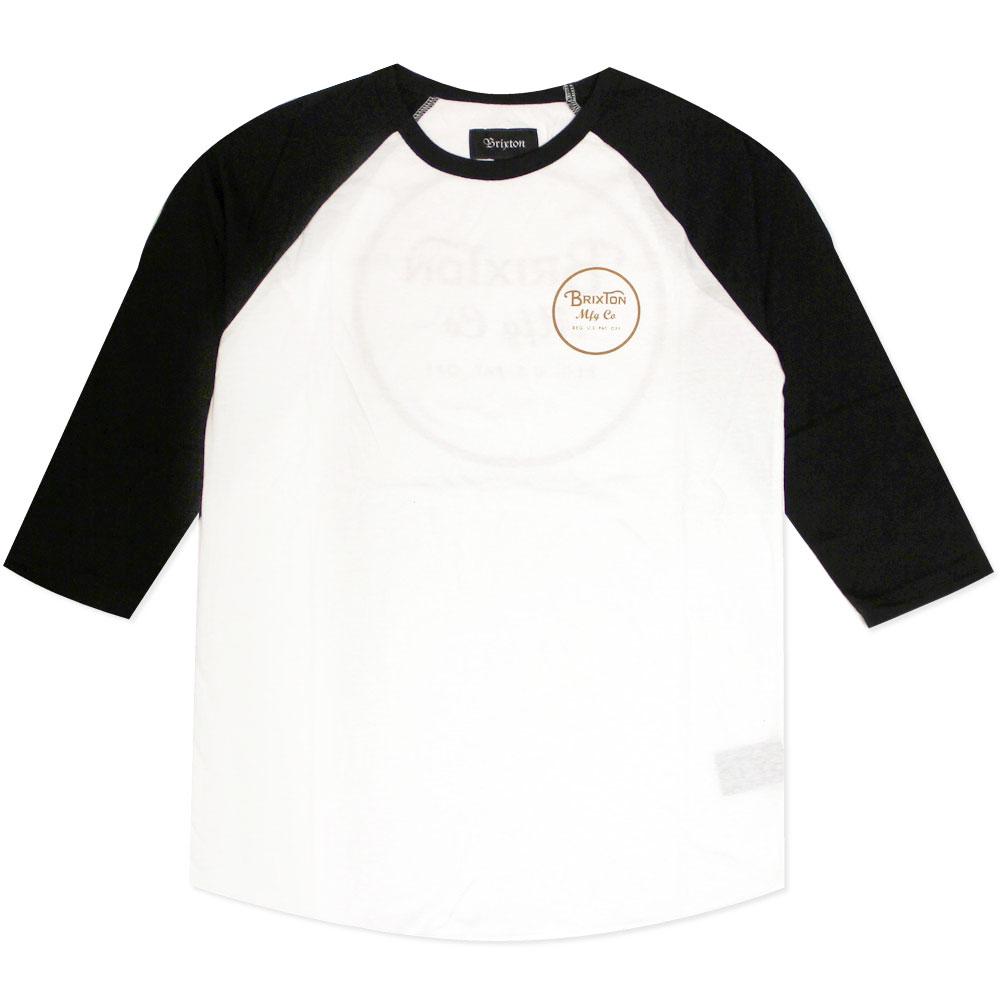 Brixton Wheeler 3/4 Sleeve Baseball T-Shirt White Orange