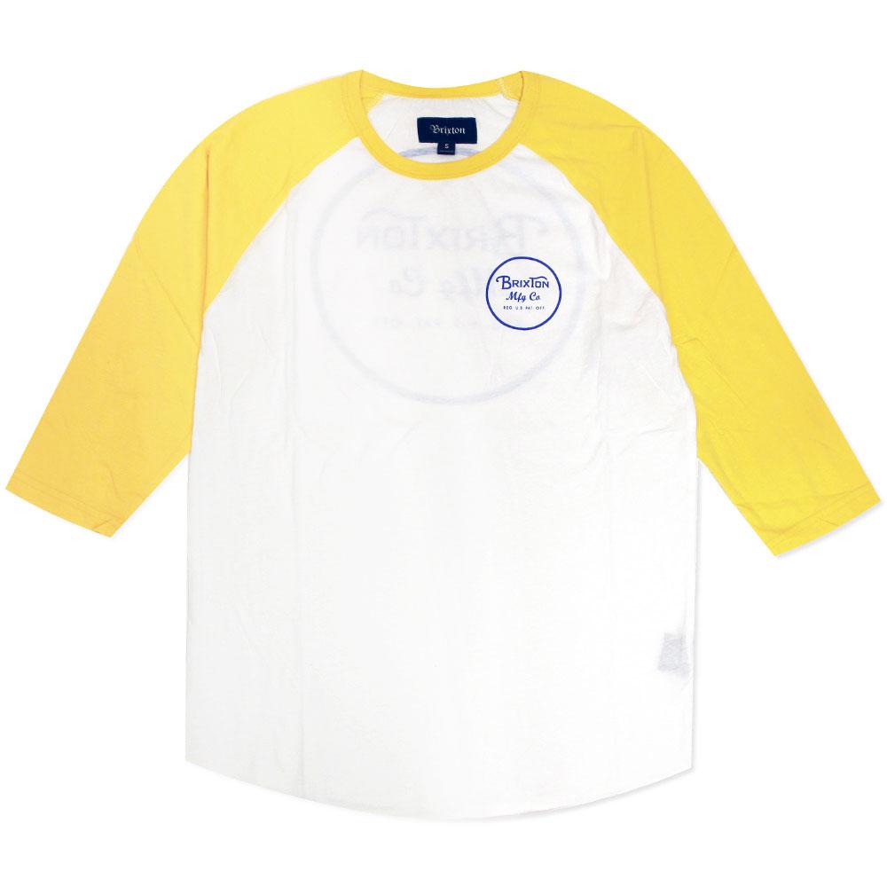 Brixton Wheeler 3/4 Sleeve Baseball T-Shirt White Yellow
