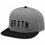 Brixton Hamilton Snapback Cap Grey Black