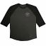 Brixton Wheeler 3/4 Sleeve Baseball T-Shirt Charcoal Grey Black