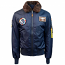 Top Gun B 15 Nylon Bomber Jacket with Removable Patches Navy