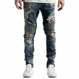 Embellish Turkish Biker Denim Jeans Vintage Stone Blue