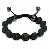 Mens Black Agate Shamballa Style Bracelet