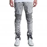 Embellish La Flame Biker Denim Jeans Acid Bleached Wash