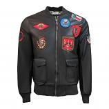 Top Gun Vegan Leather Bomber Jacket Brown