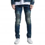 Embellish Garland Biker Denim Jeans Dirty Indigo Wash