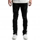 Embellish Bolt Standard Ripped Denim Jeans Black White