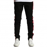 Embellish Racer Biker Denim With Red Contrast Side Stripe