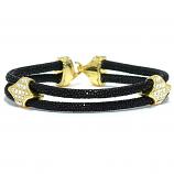 Lavriche Stingray Bracelet Leather and 18k Gold Plated CZ High Quality