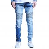 Embellish Langford Biker Denim Jeans Patchwork Light Indigo