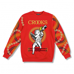Crooks & Castles Chain Cherub Sweatshirt Red