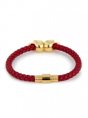 Northskull Deep Red Nappa Leather and 18KT Gold Twin Skull Bracelet